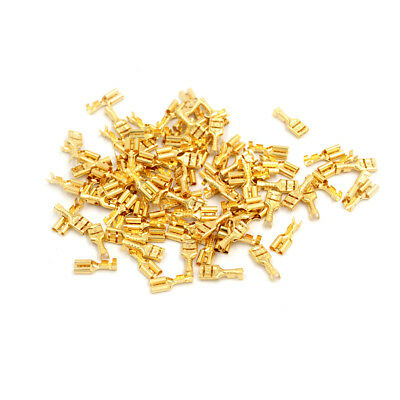 100 Pcs 4.8mm Gold Brass Car Speaker Female Spade Terminal Wire Connector SEAU