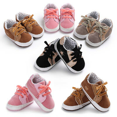 Baby Boy Girl Crib Shoes Infant Sneakers Toddler Trainers Size 0-6 6-12 12-18 M
