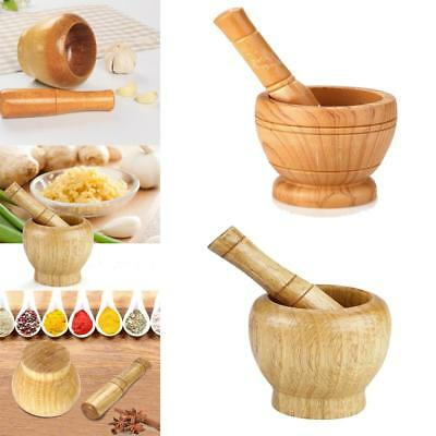Wood Wooden Garlic Coffee Mixing Grinding Spice Crusher Bowl Mortar and Pestle D