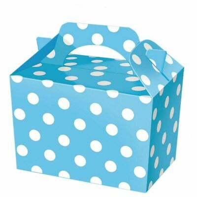 10 Blue Polka Dot Party Boxes
