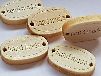 "Wooden ""HANDMADE"" BUTTONS CRAFT SEWING LABEL TAG 19mm-Christmas-Cards-Gifts"