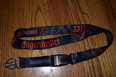 JAGERMEISTER 2 Piece Lanyard JAGER ID Removable Keychain Detachable Clip Black
