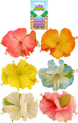 6  Hibiscus Flower Hair Clip Hawaiian Luau Fancy Dress Party Hula Girl Floral