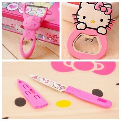 3pcs Hello Kitty Stainless Steel Kitchen Fruit Peeler+Paring Knife+Bottle Opener