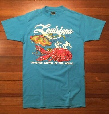 Vintage 80s T-Shirt New Orleans Louisiana Crawfish Gulf Coast Cook Chef Foam Med
