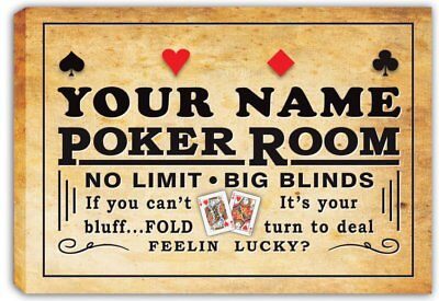scpd1-tm Personalized Poker Room Casino Stretched Canvas Print Decor Sign
