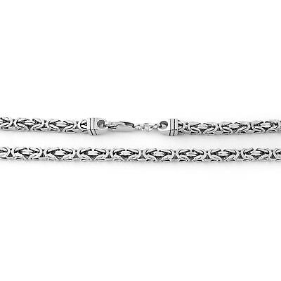 """Men's Solid Sterling Silver Rhodium Plated 4.5mm Square Heavy Chain Necklace 30"""""""