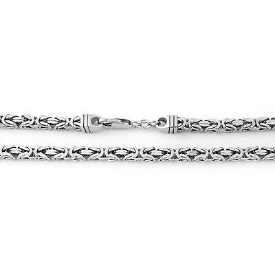 Men's Solid Sterling Silver Rhodium Plated 5mm Square Heavy Chain Necklace 28""