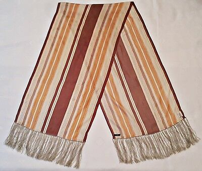 Vintage Authentic Day Birger & Mikkelsen Striped Silk Long Women's Fringe Scarf