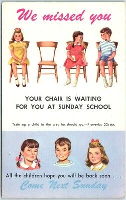 """Vintage Sunday School / Rally Day Postcard """"We Missed You (Empty Chair)"""" UNUSED"""