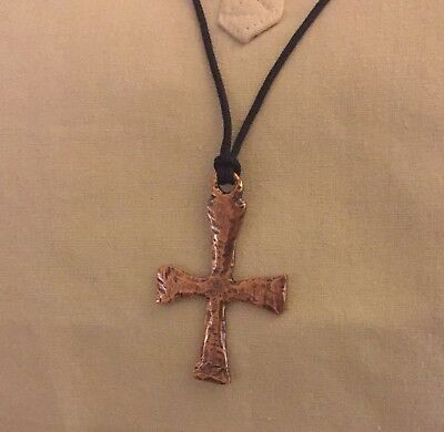 Ancient Greek Bronze/Copper Christian Cross Pendant Necklace