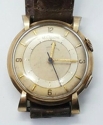 1f54705ae40a Vintage Antique LeCoultre 10k Gold Filled Mens Alarm Leather Wrist Watch