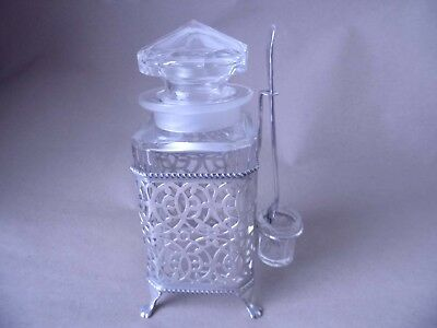 Unusual Art Deco Sterling Silver Glass Pickle Jar & Fork 1931