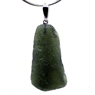 MOLDAVITE - 8.89 grams Sterling Silver Pendant - PERFECT and LUXURIOUS GIFT
