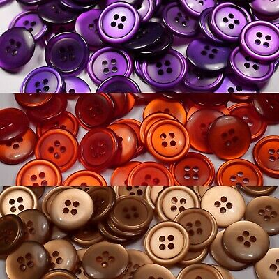 beige purple round glossy translucent buttons | 4 four hole | 19mm | 22.5mm