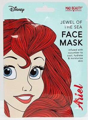 Official Disney Princess Ariel Face Mask Cucumber Mad Beauty The Little Mermaid