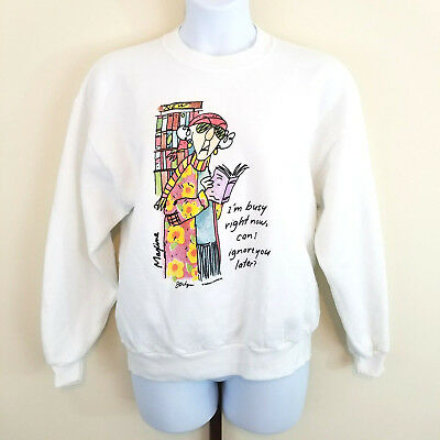"VTG Jerzees NuBlend Adult Size Large Hallmark Licensed White ""Maxine"" Sweatshirt"