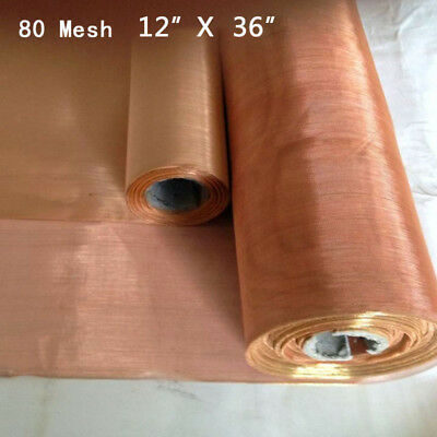 "12*36inches Copper 80 Mesh 200 Micron Dry Sift Filter Screen .0047"" Wire Great"