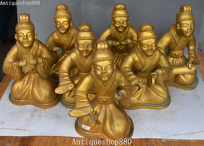 """10"""" China Bronze Gold Gilt Ancient Palace Belle Beauty People Musicians Statue"""