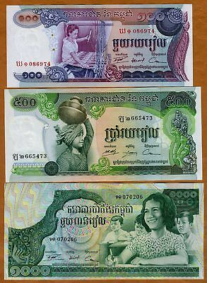 SET Cambodia, 100;500;1000 Riels, ND (1973), P-15-16-17, UNC > Khmer Republic