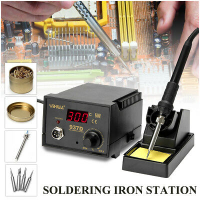 937D+ Electric Soldering Iron ESD Safe Solder Station 4 Tip Lead Welding Kit AU