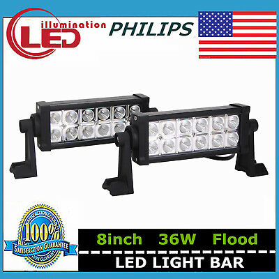 2X 8inch 36W Philips LED Work Light Bar Flood Truck SUV Offroad Fog Driving Lamp