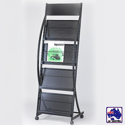 145cm Magazine Display Stand Brochure Holder Rack News Paper Shelves WRA000127