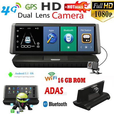 "4G Android 5.1 Car DVR 8"" Monitor Rear View Mirror Dash Video Recorder GPS WIFI"