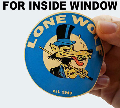 "Pair 3"" Lone Wolf Stickers, INSIDE WINDOW / Glass, Hot Rod Retro Vintage Decal"