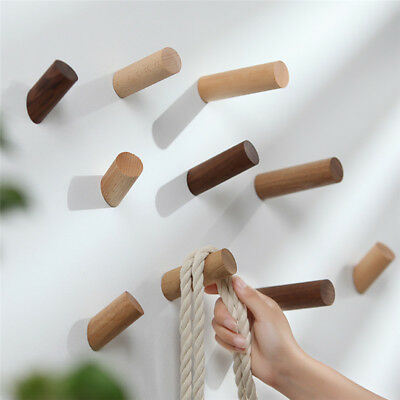 Natural Wooden Coat Hook Study Wall Mounted Clothes Scarf Hat Bag Storage Hanger