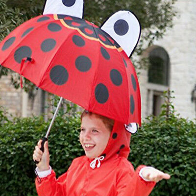 Lovely Red Umbrella insect Folding Round Ear Eyes Child Kids Girls Boys AU