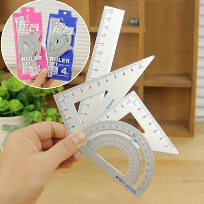 Students Drawing School Supplies Set Square Ruler Aluminum Alloy Protractor