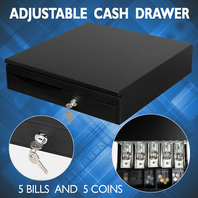 Electronic Heavy Duty Cash Drawer Cash Register POS 5 Bills 5 Coins Tray