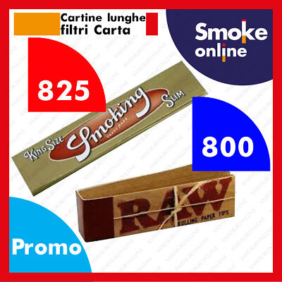 825 SMOKING ORO KING SIZE SLIM LUNGHE GOLD  CARTINE e 800 FILTRI CARTA RAW FIBRA