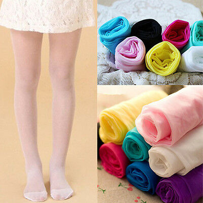 Girls Kid Colorful Sheer Transparent Tights Dancing Stretchy Pantyhose Stockings