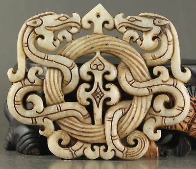 Chinese natural Old jade hand-carved statue of double dragon pendant