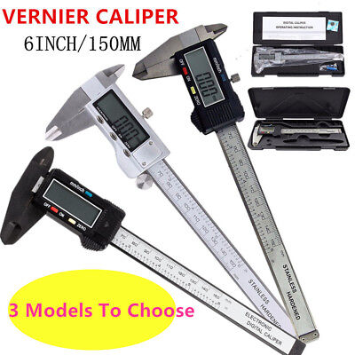 "NEW! 150mm (6"") Internal/External LCD Display Digital Vernier Caliper Gauge UK"