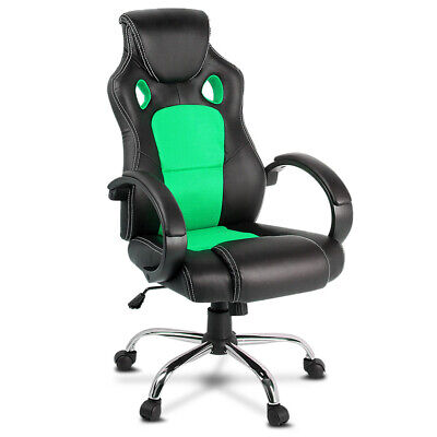 Racing Office Chair Sport Executive Computer Gaming Deluxe PU Leather Mesh Green