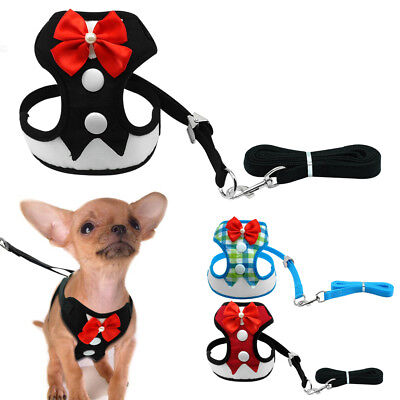 Elegant Bow Pet Dog Harness and Leash Mesh Puppy Vest Breathable for Small Dogs