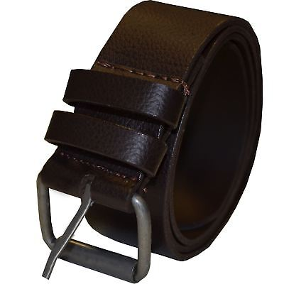 "New Mens Brown Pu Leather Buckle Belt Jeans Waistband Sizes 28"" - 50 By Kruze"