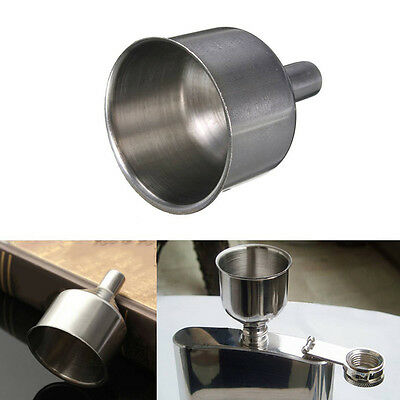 2Pcs Durable Stainless Steel Funnel for Hip Flasks Drinking Wine Oil Pot Mouth