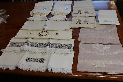 Vintage 11 Bathroom Hand Towels Most Linen Some Tags Irish Czechoslovakia Italy