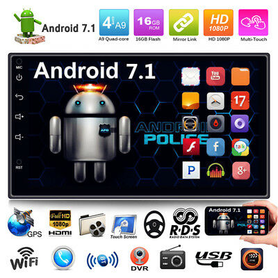 "Quad Core Android 7.1 3G WIFI 7"" 2 DIN Car BT Stereo Radio GPS MP3 MP5 FM Player"