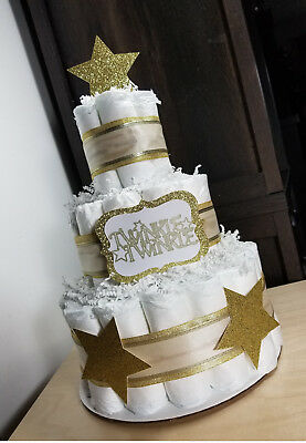 3 Tier Diaper Cake - Twinkle Twinkle Gold and White Neutral Diaper Cake