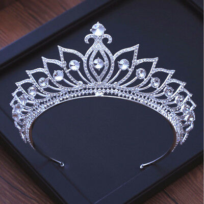 7cm High Large Crystal Flower Drip Tiara Crown Wedding Party Prom Pageant