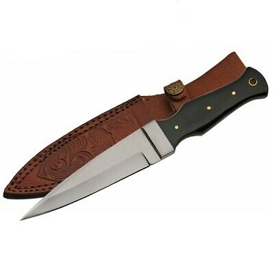 "Rite Edge 9"" HORN Handle BOOT KNIFE Full Tang Tactical Hunting Dagger Black"