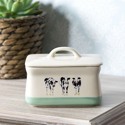 Stoneware Farmyard Cow Butter Storage Dish with Lid Serving Bowl Dining Table