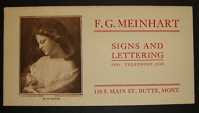 N.O.S. Early F. G. Meinhart Advertising Ink Blotter cir. 1920's Victorian Woman