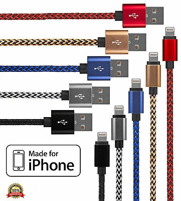 Extra Long Heavy Duty Braided Lightning Charger Cable For iPhone 5 6 7 8 X iPad