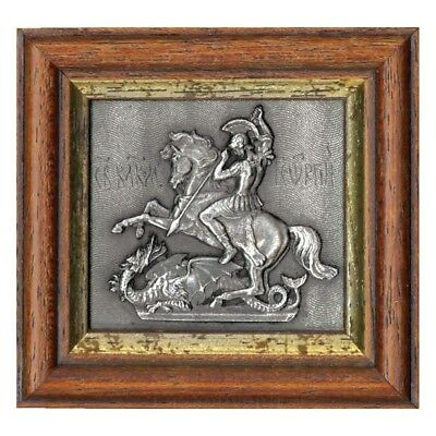 Handmade Orthodox wood silver Icon Saint George with a Dragon / Icon St George
